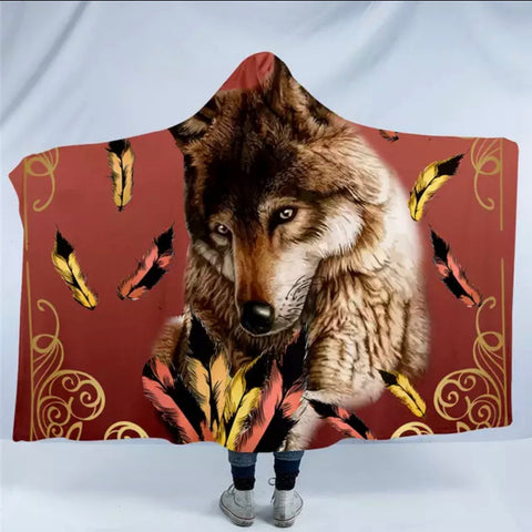 Royal Wolf Feather By Ismot Esha Hooded Blanket