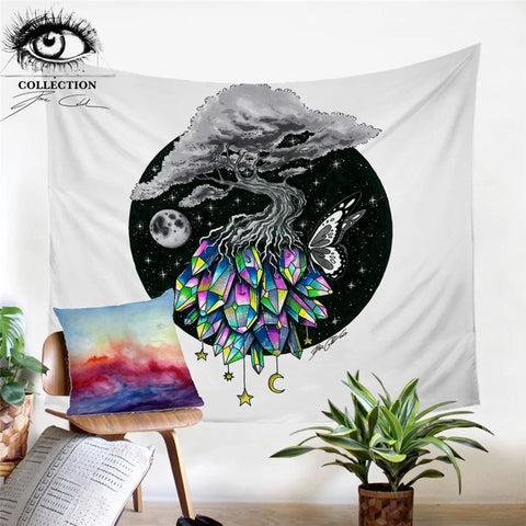 Crystal Tree By Pixie Cold Art Wall Tapestry