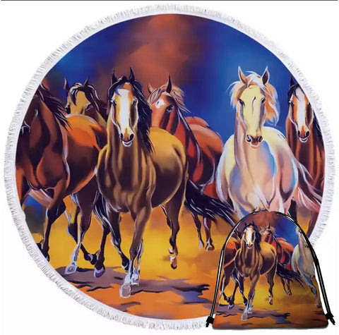 Six Horses Galloping Round Towel