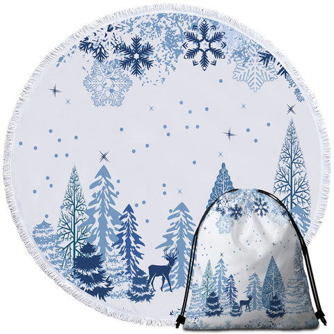 Christmas Forest & Snow Flakes Round Towel