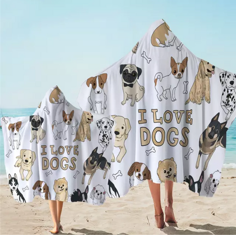 I Love Dogs Hooded Towel