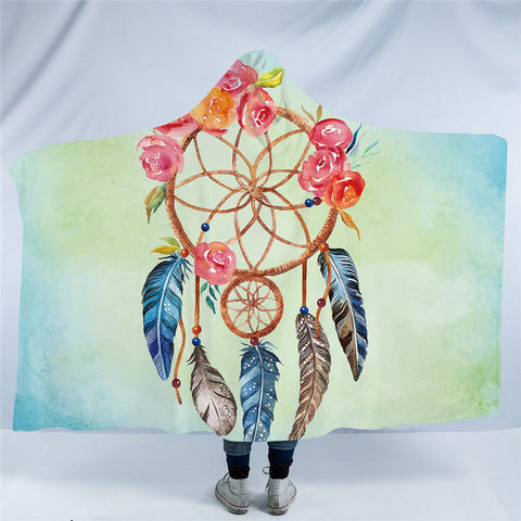 Orange & Pink Dreamcatcher Hooded Blanket