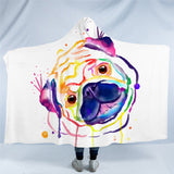 Rainbow Pug Hooded Blanket