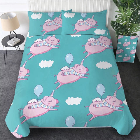 Pink Flying Pigs (Aqua) Bedding Set
