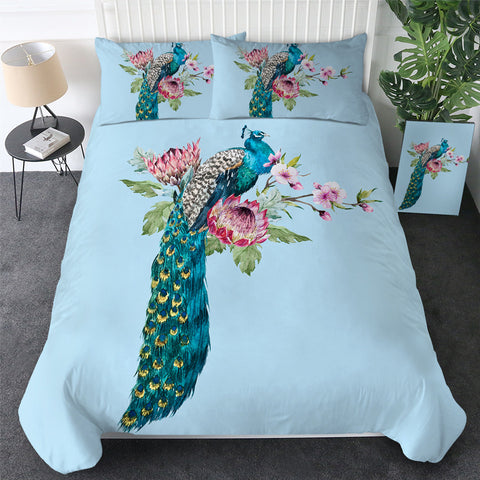 Peacock Floral Bedding Set