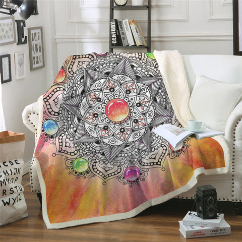 Gemstone Mandala Throw Rug
