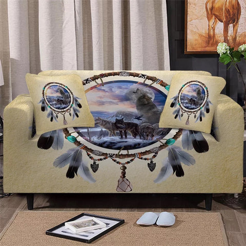 Picture Of Wolves In The Dreamcatcher Sofa Cover