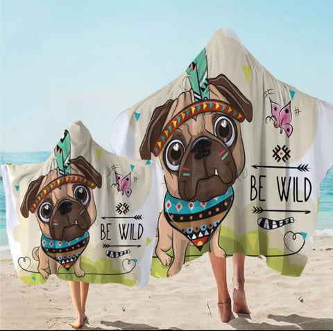 Cartoon Be Wild Pug Hooded Towel