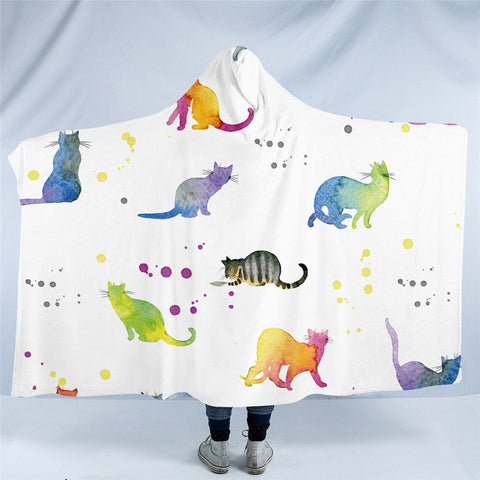 Ombré Rainbow Cats Hooded Blanket