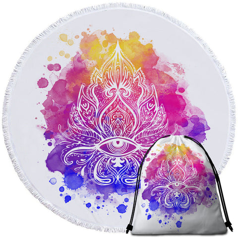 Watercolour Splash Lotus Flower Round Towel