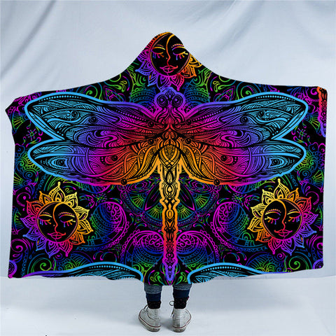 Bright Dragonflies & Suns Hooded Blanket