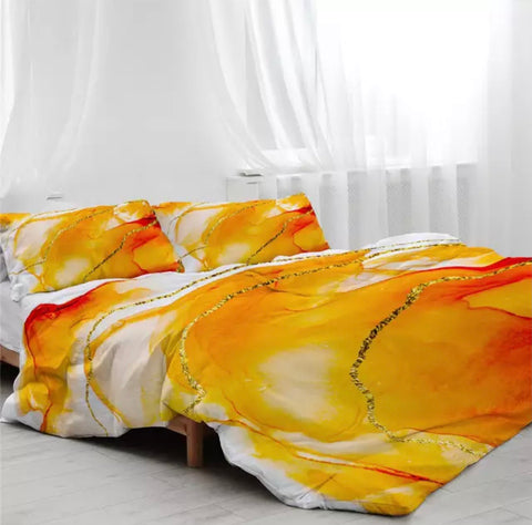Orange, Gold & White Marble Bedding Set