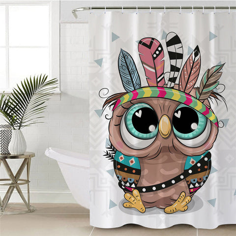 Cartoon Indian Owl Shower Curtain