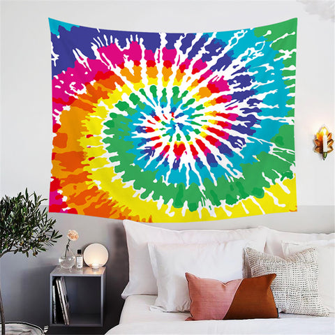 Colourful Spiral Tie Dye Wall Tapestry