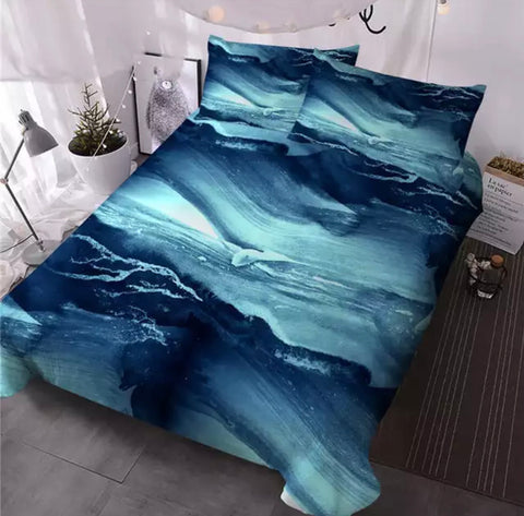 Waves Of Teal Marble Bedding Set