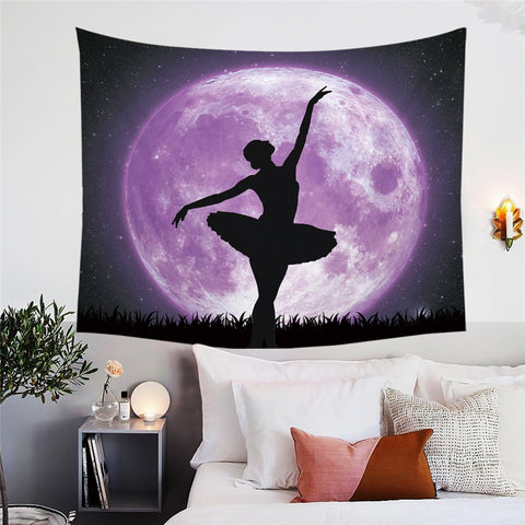 Ballerina In Front Of Purple Moon Wall Tapestry