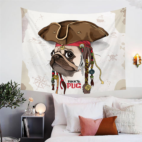 Pirate Pug Wall Tapestry