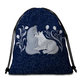 Grey Foxes (Blue) Round Towel