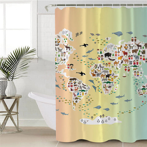 Animals Of The World Map Shower Curtain