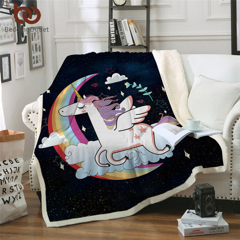 Unicorn Jumping Over The Moon Throw Rug