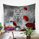 Red Umbrellas Tower Of London Wall Tapestry