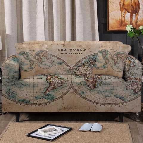 Vintage Map Sofa Cover