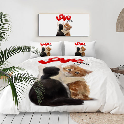 Two Kittens I Love You Bedding Set