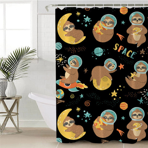 Sloths In Outer Space Shower Curtain