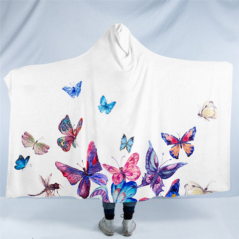 Colourful Butterflies Hooded Blanket