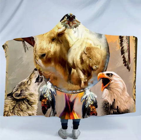 White Buffalo By Ismot Esha Hooded Blanket