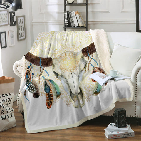 White Bull Skull Dreamcatcher Throw Rug