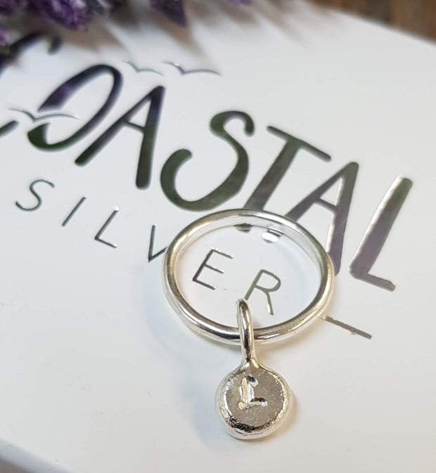 Small Dangle Pebble Ring *can be personalised