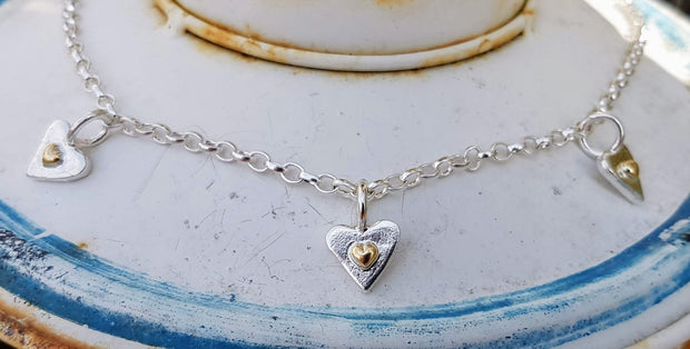 A Drop of Gold 3 Forever Hearts Necklace