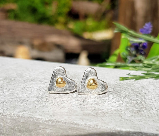 Drop of Gold Forever Heart Stud Earrings
