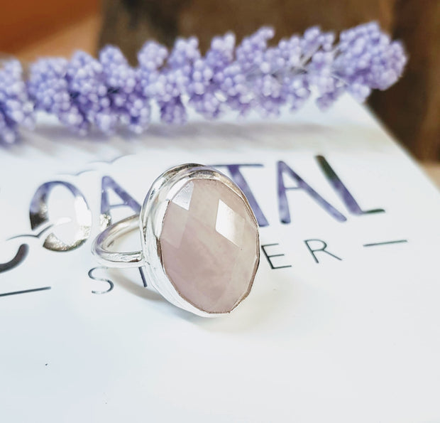 Lush Large Faceted Rose Quartz Ring