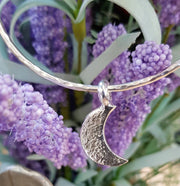 Crescent Moon Ashes into Silver Bangle