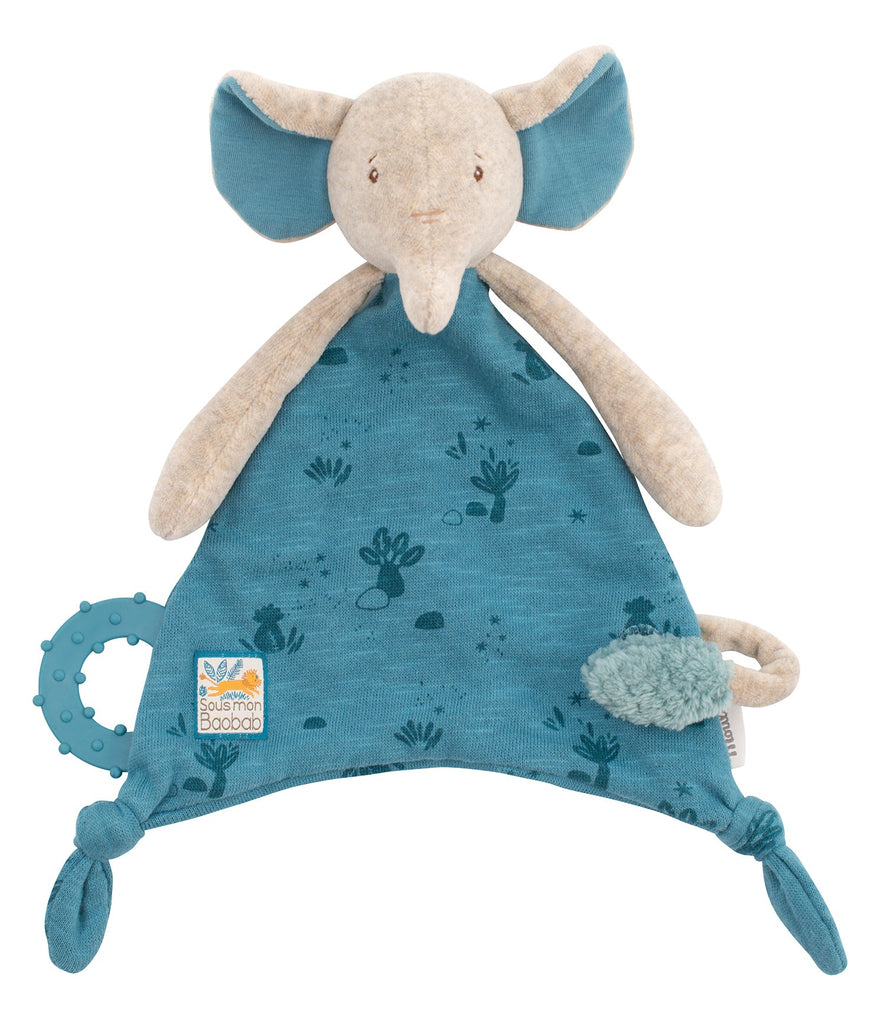 SOUS MON BAOBAB - ELEPHANT COMFORTER with PACIFIER HOLDER