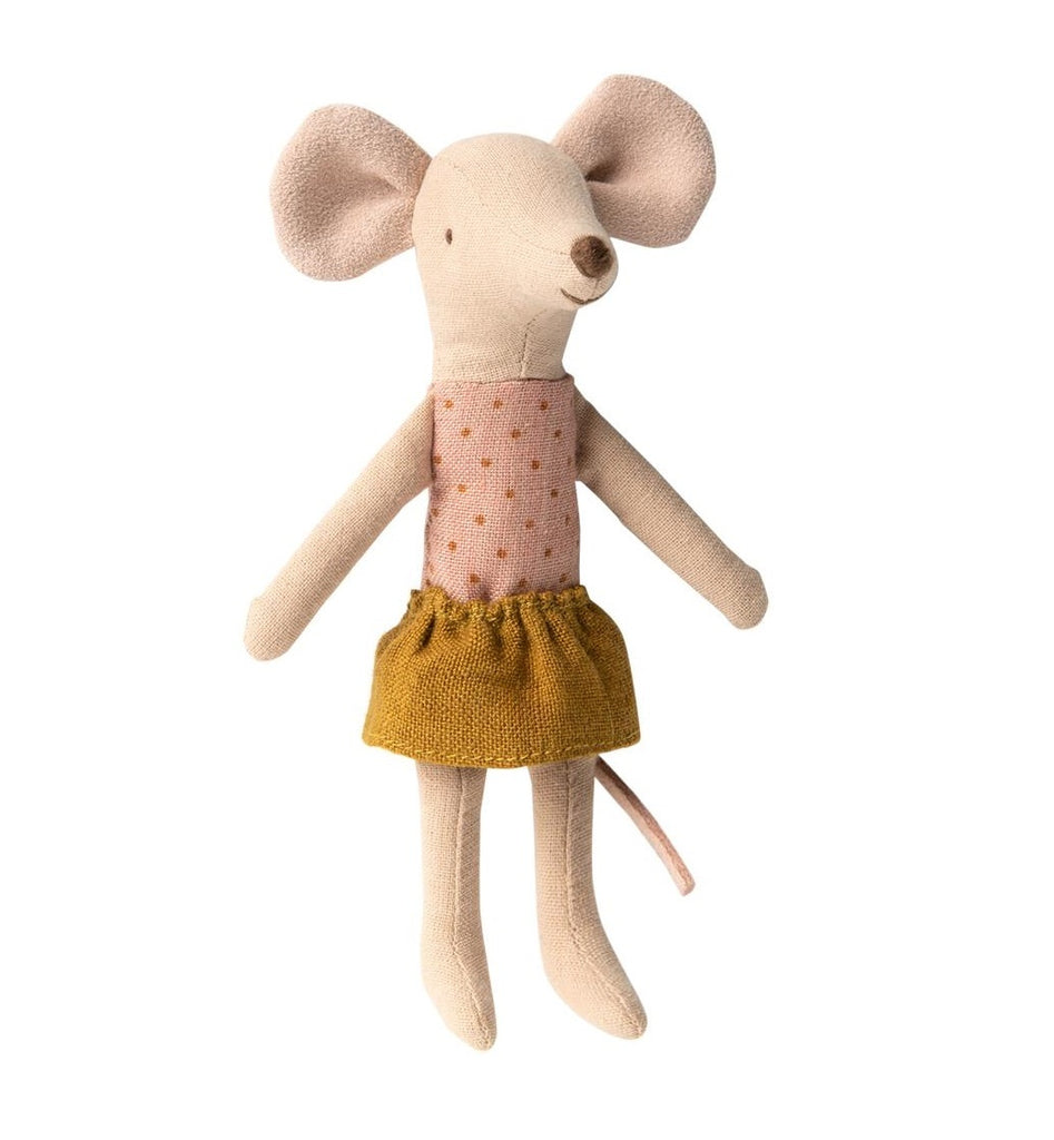 BIG SISTER MOUSE IN BOX - PINK DOT/OLIVE SKIRT
