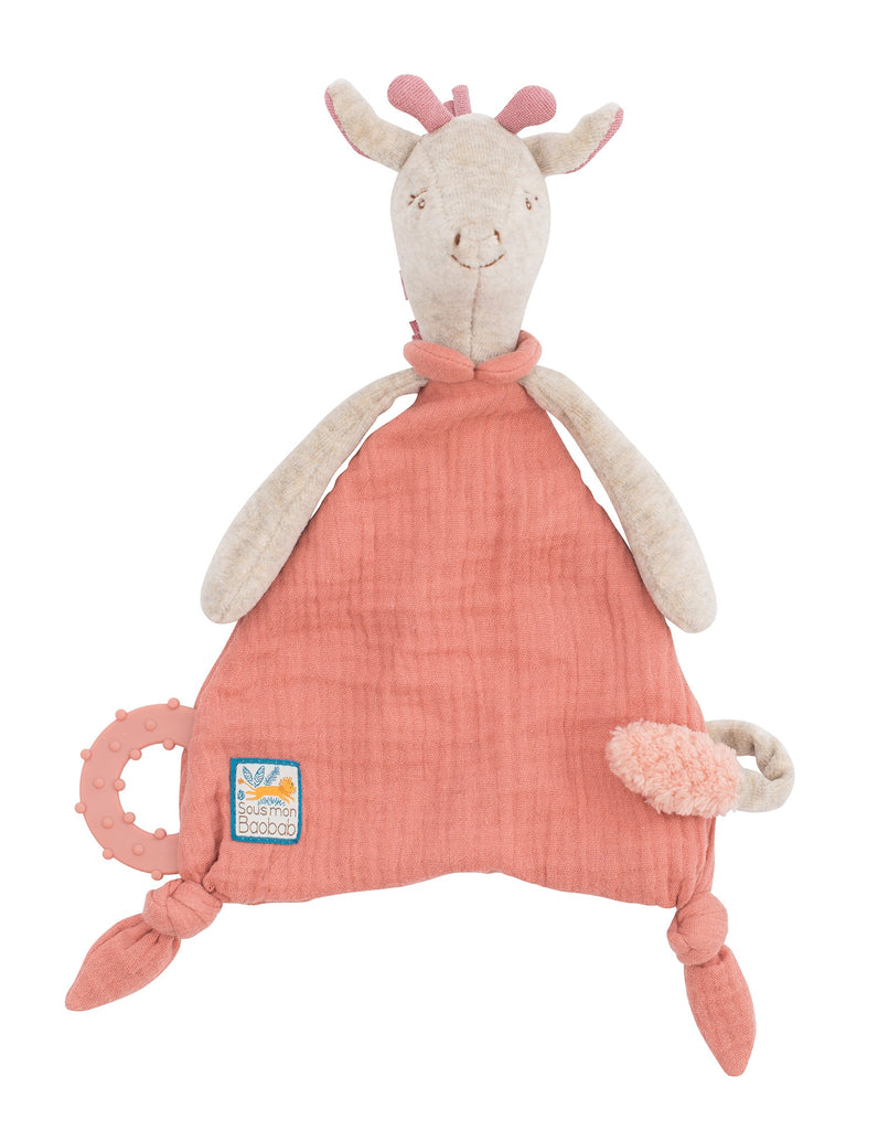 SOUS MON BAOBAB - GIRAFFE COMFORTER with PACIFIER HOLDER