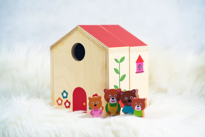 MINIHOUSE - WOODEN CAT FAMILY