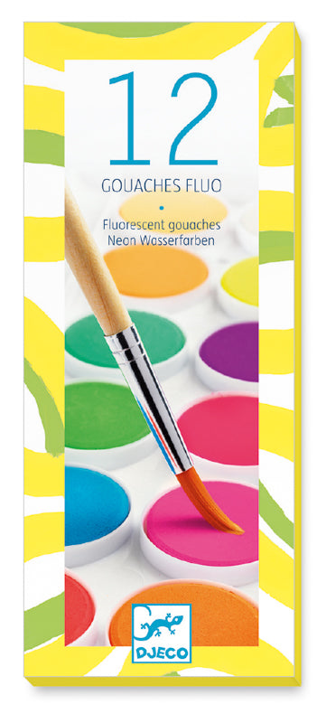DJECO - 12 GOUACHE FLURO COLOUR PAINTS