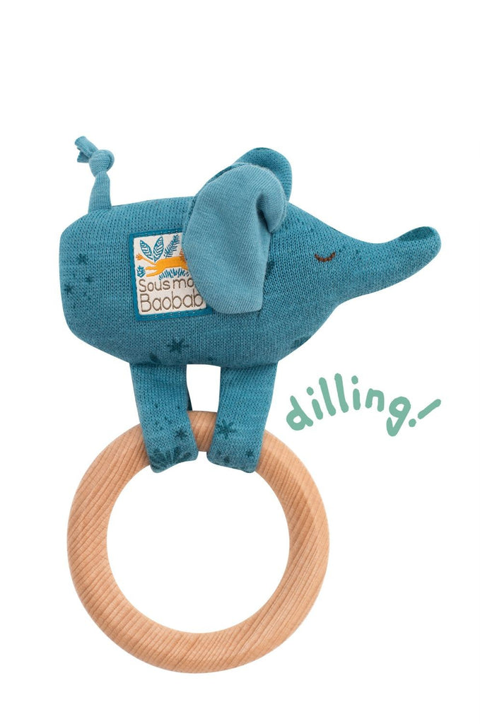 SOUS MON BAOBAB WOODEN ELEPHANT RING RATTLE