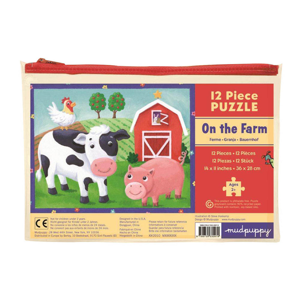 12 PC POUCH PUZZLE - ON THE FARM