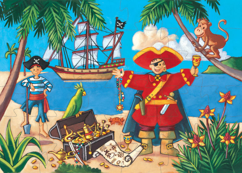 SILHOUETTE PUZZLE - THE PIRATE & THE TREASURE 36PC