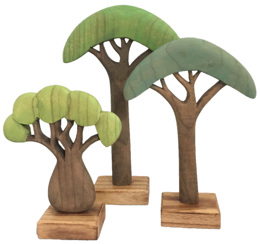 PAPOOSE - WOODEN AFRICAN TREES 3PC