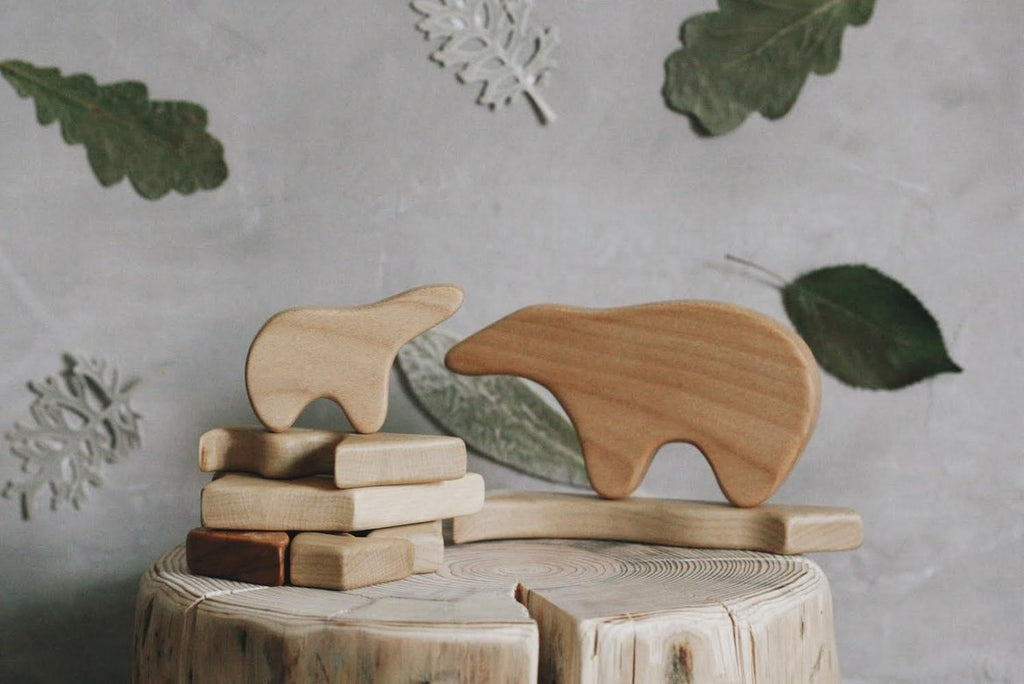 WOODEN MOSAIC PUZZLE - MOTHER BEAR & CUB