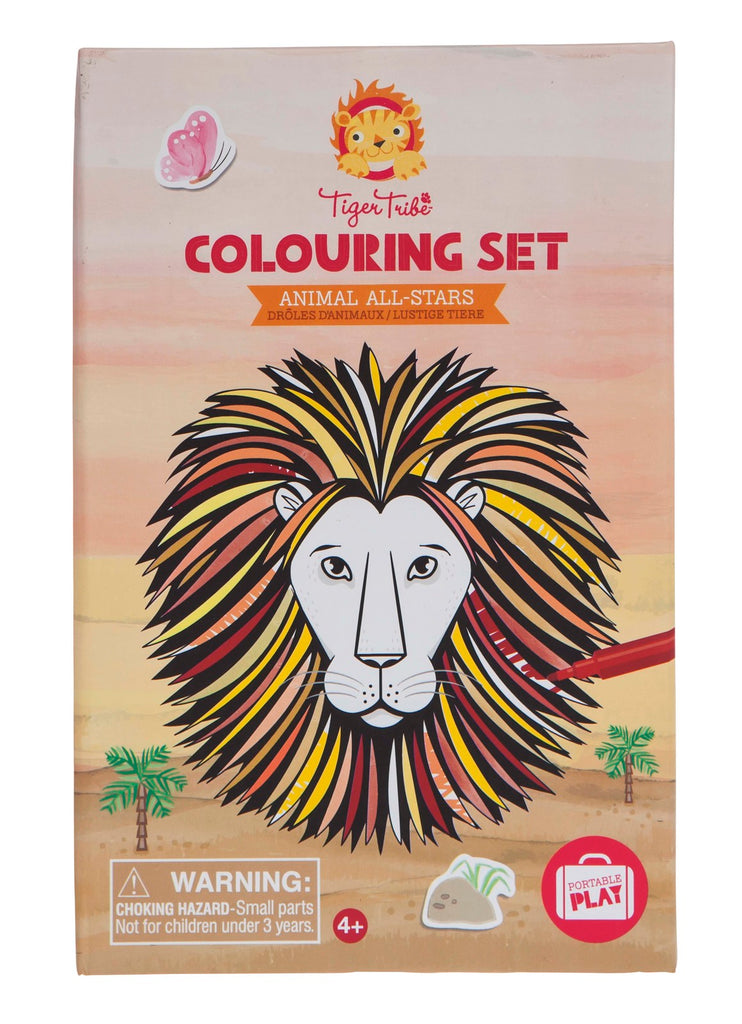 colouring set animal tiger tribe