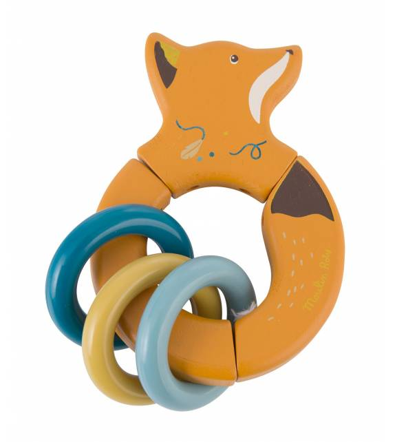 MOULIN ROTY VOYAGE D'OLGA WOODEN RATTLE FOX