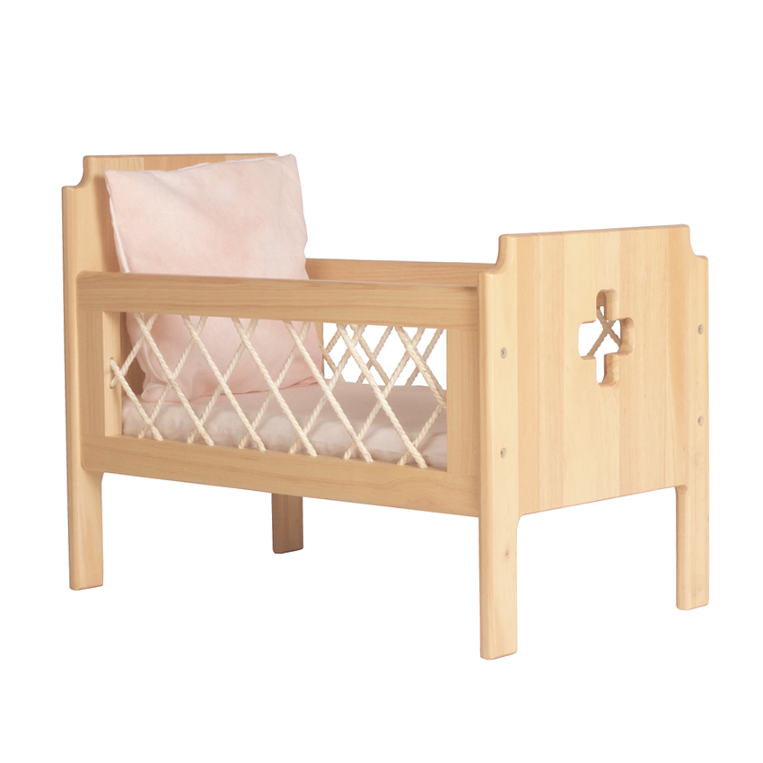 THE FLORENCE DOLLS COT BEDDING - PEACH