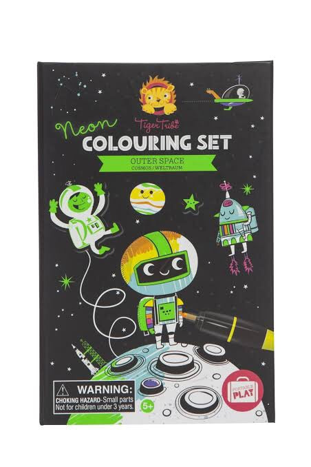 neon colouring set outer space